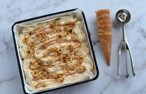 גלידת חמאת בוטנים עם במבה נוגט וגם מתכון לחלב מרוכז פרווה